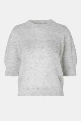 lichtgrijze cropped trui met korte pofmouwen elke knit ss puff 54357