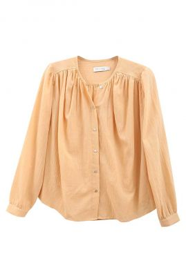 gele wijde blouse met plooi details en knoopsluitingen 21112120