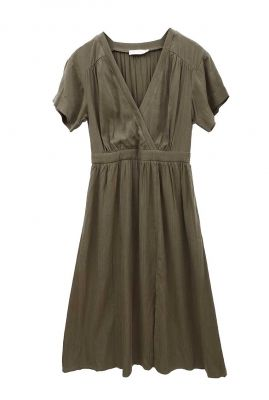 donker groene midi jurk met v-hals en split 21122868