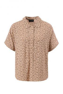 licht bruine blouse met vlekjes dessin riyanka shirt 16075666