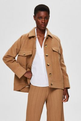 bruine korte jas van wol mix maddy wool jacket 16074711