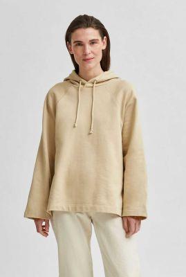 crème kleurige oversized sweater jasie hood sweat 16078299