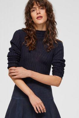 donkerblauwe gebreide trui met opstaande kraag lima knit 16070575