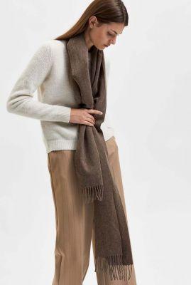 donkerbruine wollen sjaal met franjes time wool scarf 16062002
