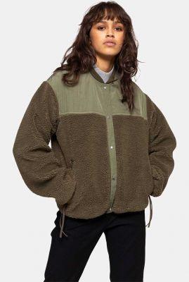 donker groene teddy jack met drukknopen teddy jacket 77160