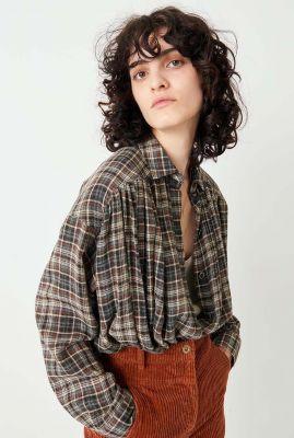oversized blouse met klassieke kraag en ruit dessin licati