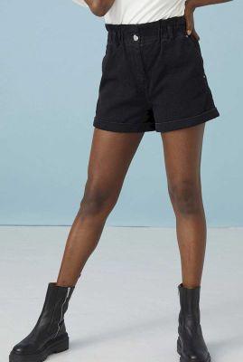 zwarte high waist short met elastische band sh alia