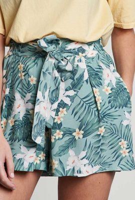 viscose short met strik en all-over botanische print sh pastel paradiso