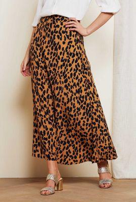 beige viscose maxi rok met luipaard dessin sina skirt