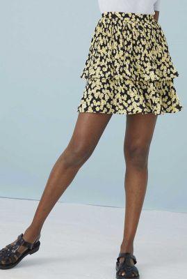 zwarte mini rok met gele madelief print sk daisy field