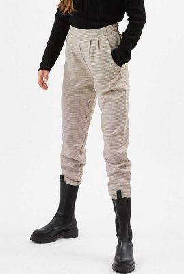 broek met gekleurde pied-de-poule ruit en elastische taille sofja 7152