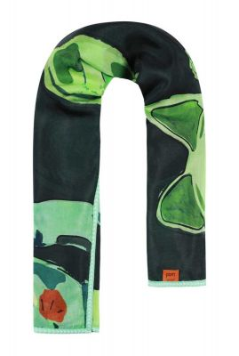 groene sjaal  met gelukskatjes maneki blush dark by katja sp6162