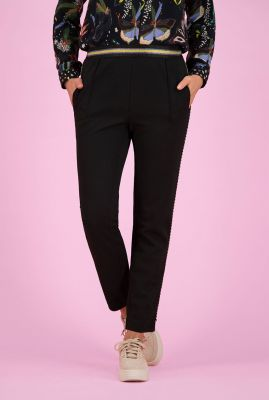 zwarte broek met lurex taille band black night by katja sp6359