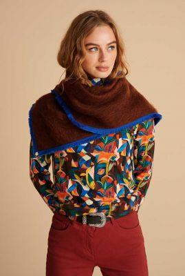 donker bruine harige sjaal furry smokey sp6646