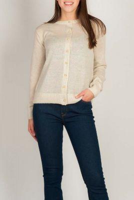 fijngebreid beige vest sassi o-neck cardigan knit sr120-210