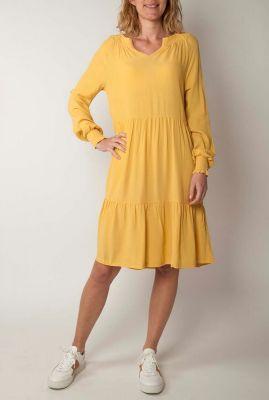 oker gele viscose jurk met v-hals move ls dress sr220-704