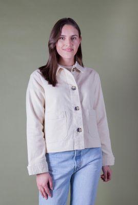 beige katoenen jas met knopen lauren short jacket SR221-604
