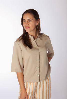 korte beige blouse met knoopsluiting amy 2/4 shirt SR321-719