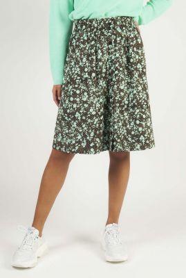 korte rok met groene bloemen print nina skirt SR420-705