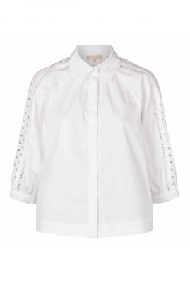 witte blouse met broderie anglaise pricilla 3/4 shirt SR421-726