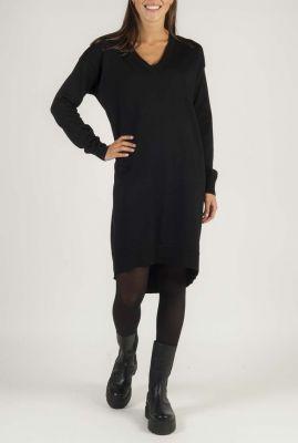 zwart jurk met v-hals SR520-200