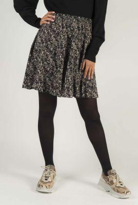 zwarte mini rok met bloemen dessin dee skirt SR520-705
