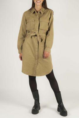 khaki blouse jurk met ceintuur en borstzakken uma SR520-722