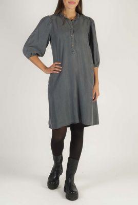 grijze jurk van tencel met pofmouwen Aura SR520-726
