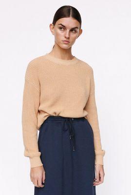 beige grof gebreide trui rose o-neck knit  SR421-205