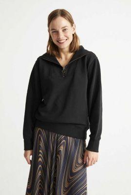 zwarte sweater met ritssuiting rebeca sweatshirt wss00098