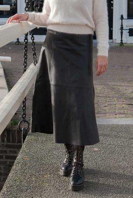 leren maxi rok met a-lijn pasvorm merrith skirt