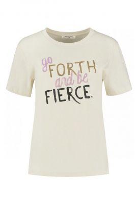 crème kleurig t-shirt met tekst opdruk suri tee s21.77.6155