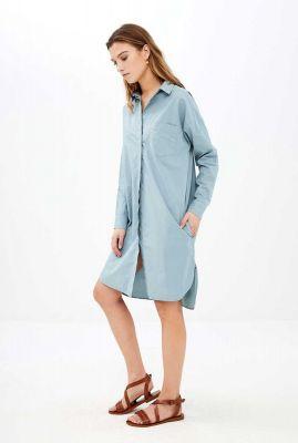katoenen jurk met lange mouwen en klassieke kraag suzy dress