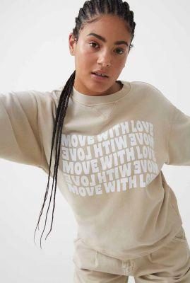 beige sweater met witte opdruk sw move with love