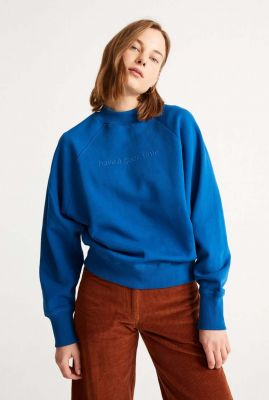sweater met geborduurde tekst good time sweatshirt wss00090