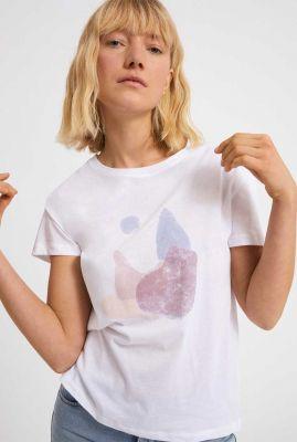 wit t-shirt met gekleurde vlekken print nelaa stones 30002531
