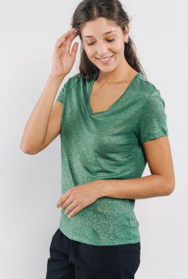 linnen t-shirt met v-hals en gouden coating alize 56020