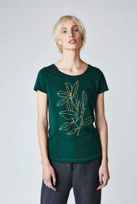 donkergroen t-shirt met grafische bloemen print kelly flower 30421