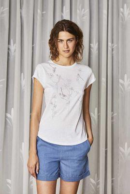wit t-shirt met streep dessin en bloemen print meisen 32260