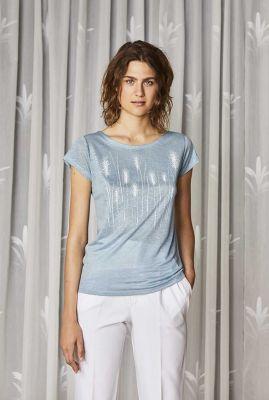lichtblauwe linnen top met lichte koren print reed ice blue 32111