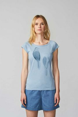 lichtblauw t-shirt met vogel print paper birds steel blue 40130