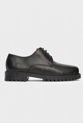 zwarte leren veter schoenen met grove zool zena black