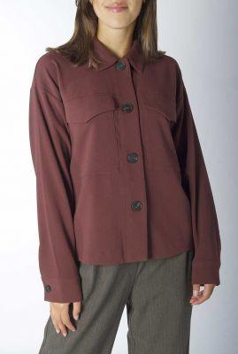 bordeaux rode blouse met grote borstzakken terezia