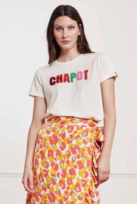 crème t-shirt met gekleurd teddy logo terry t-shirt