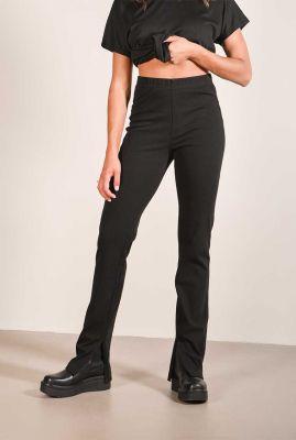 zwarte high waist jeans met split details katie split jeans
