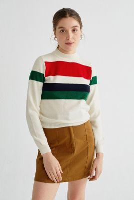 crème kleurige trui met strepen dessin silvia wkn00054