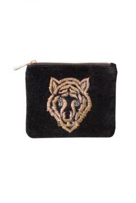 zwarte velvet portemonnee met geborduurde tijger tiger-wallet black