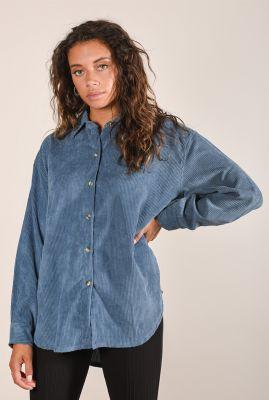 klassieke blauw grijze blouse met rib dessin blouse corduroy