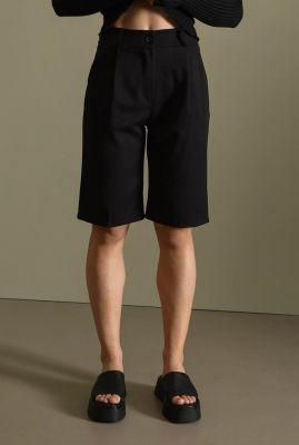 zwarte high waist short met steekzakken lois bermuda short