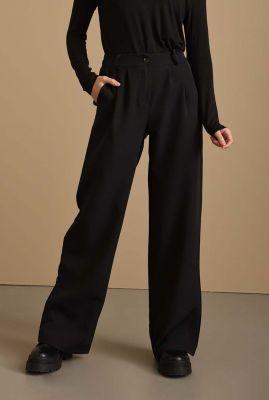 zwarte broek met wijde pijpen wanda wide pantalon
